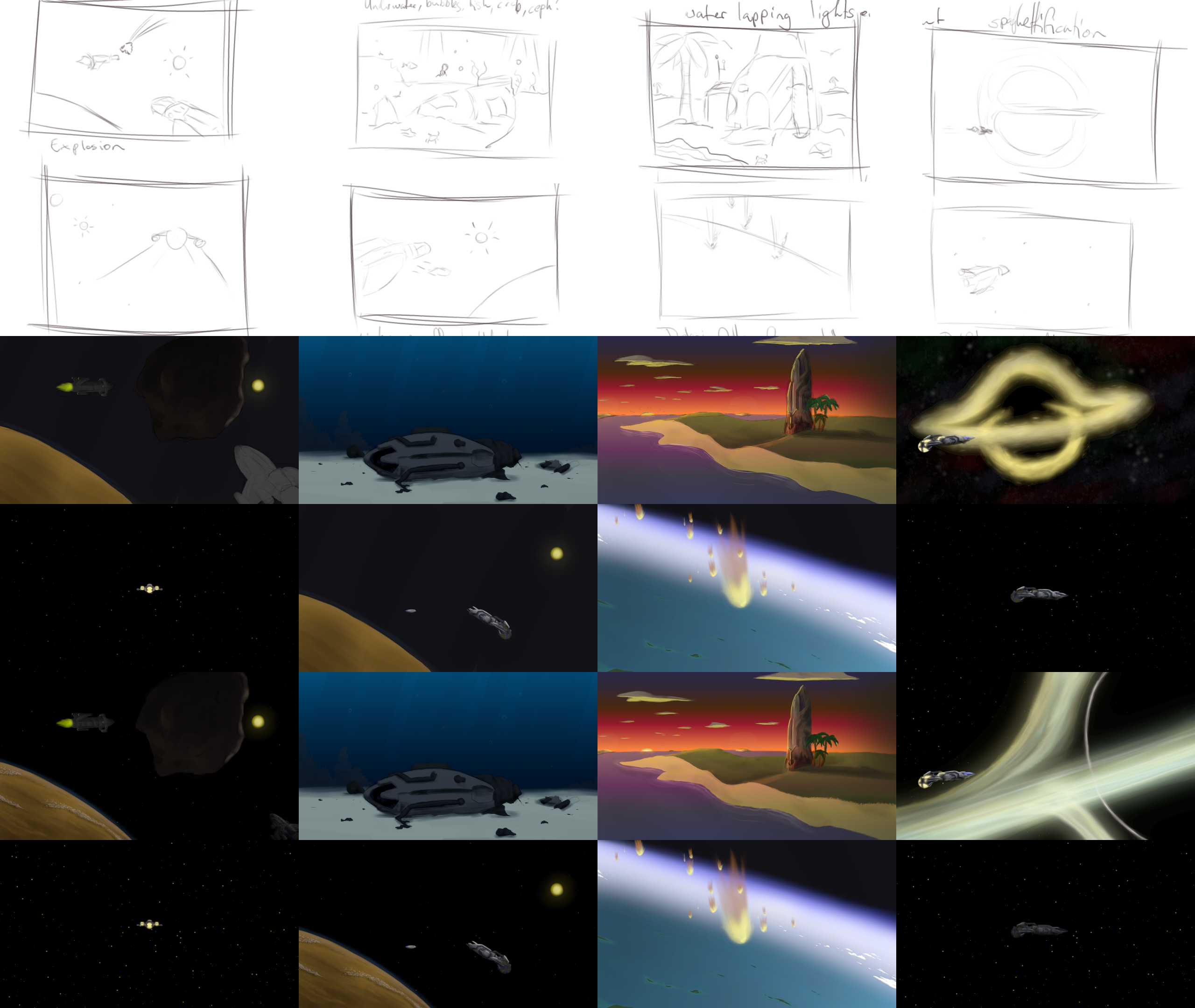 The progression of 8 end screens from sketch to final image