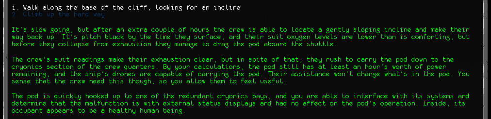 In-game text describing the recovery of Savio's pod