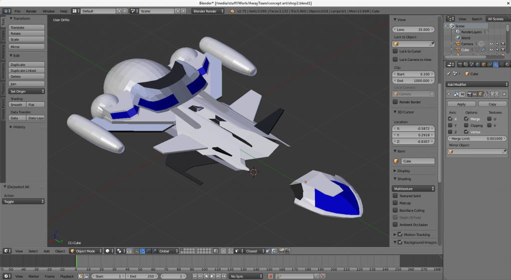 A 3D mockup of the second ship design candidate.