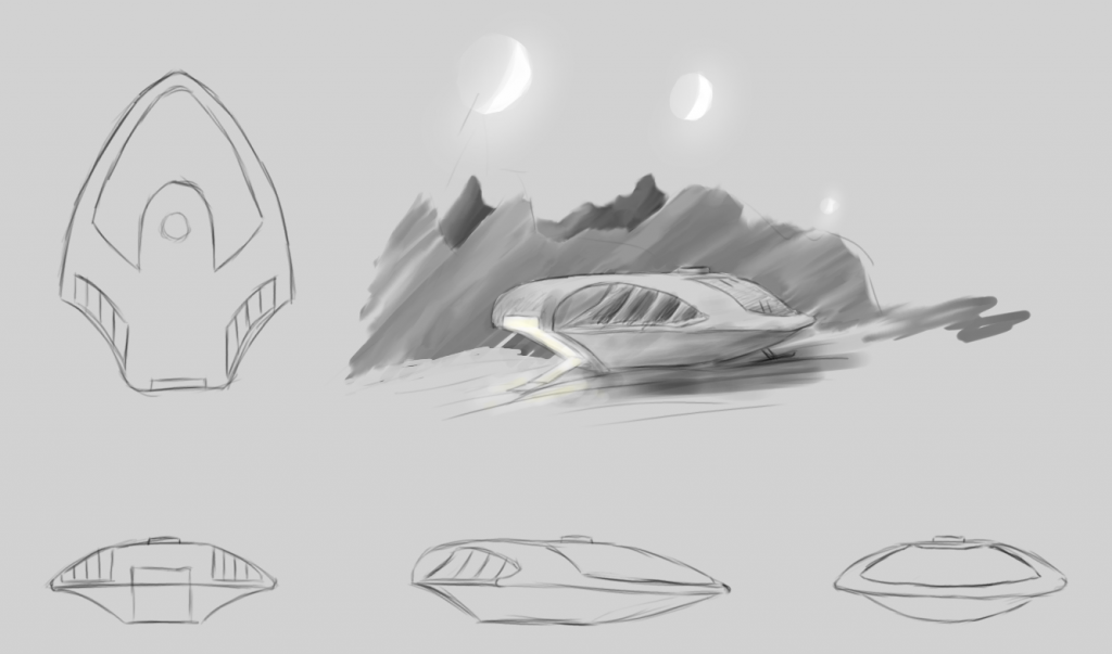 Final design for the Argo's shuttle, and a little concept piece of it landed on an alien planet.