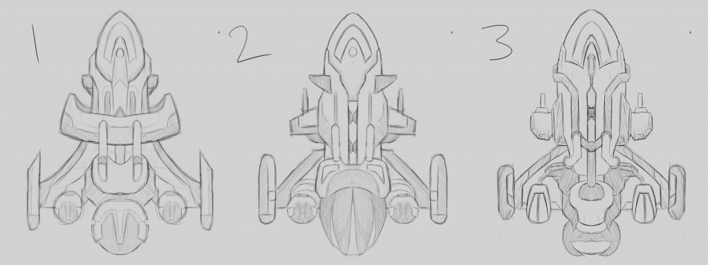 Sketches of the three ship design candidates.