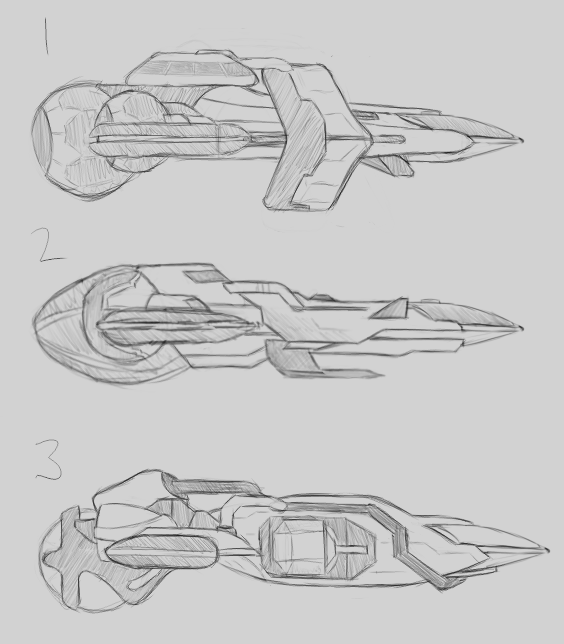 Sketches of side views of the three ship design candidates.