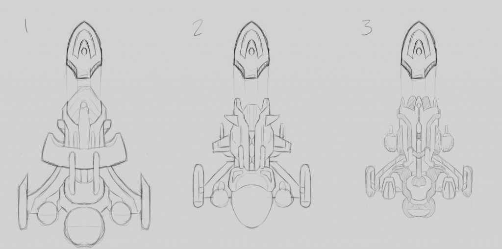 Sketches of the three ship design candidates with shuttle detached.